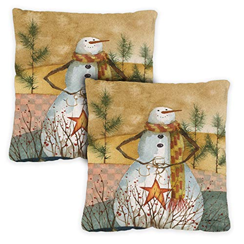 Toland Home Garden Decorative Americana Snowman Winter Holiday Snowmen 18 x 18 Inch Pillow Case (2-Pack) from Toland Home Garden