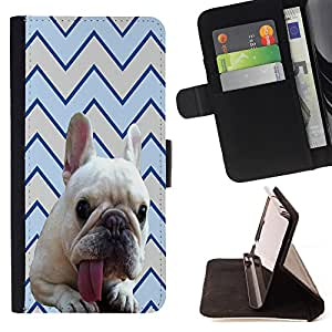 Pattern Queen - FRENCH BULLDOG Chevron - FOR Samsung Galaxy Note 3 III - Hard Case Cover Shell