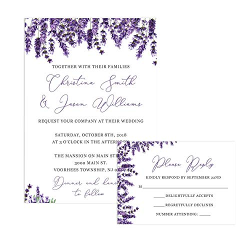 Invitation Wedding Leaves Fall (Lavender Wedding Invitations and Self Mailing RSVP Cards - Includes Envelopes for Set)