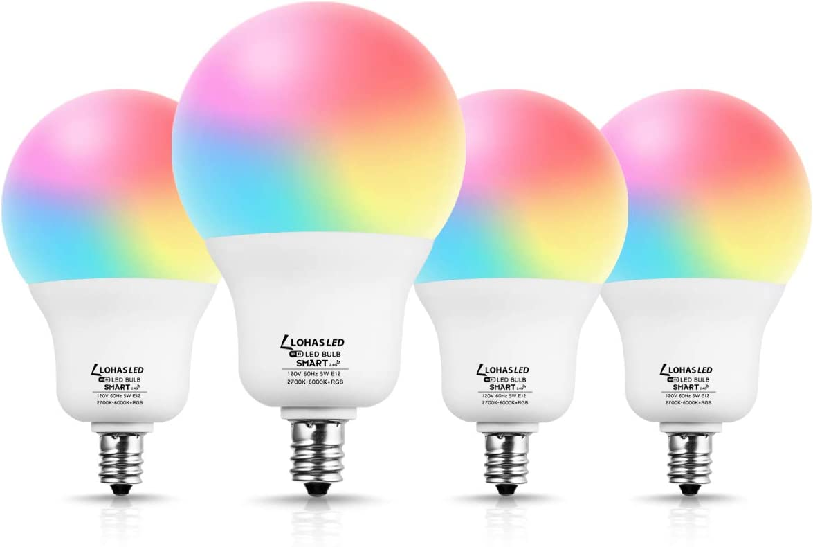 LOHAS Smart Light Bulb, A19 RGB Color Changing Light Bulb, 5W(45W Equivalent) Dimmable WiFi Bulb, 400LM Decorative Lights Works with Alexa Google Assistant SIRI, E12 Base Home Lighting, 4 Pack