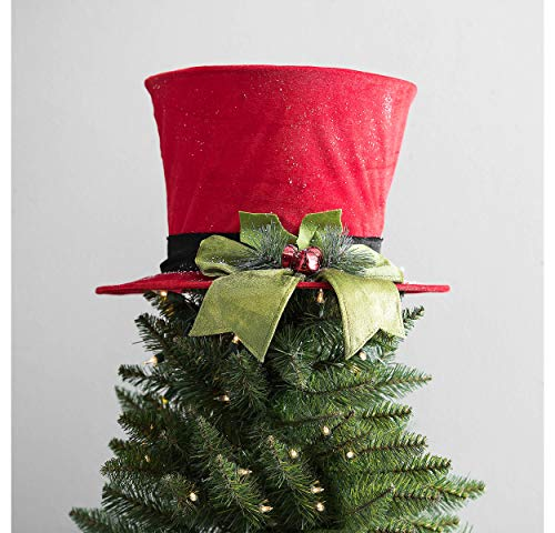hm Christmas Tree Topper-Top Hat Tree Topper Christmas Decor-Christmas Centerpiece (Red) -