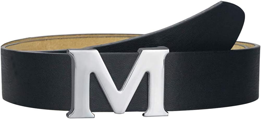 Women Belt For Dress,Leather Belts for Women with Letter M Plate Pin Buckle