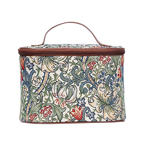 - Signare Tapestry Cosmetic Make Up Toiletry Travel Vanity Bag Case in William Morris Golden Lily (TOIL-GLILY)
