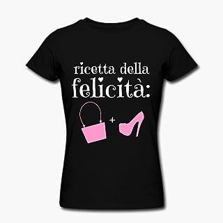 T-shirt donna Ricetta della felicità: scarpe e borse! Idea regalo appassionata di moda, fashion, outfit, accessori!