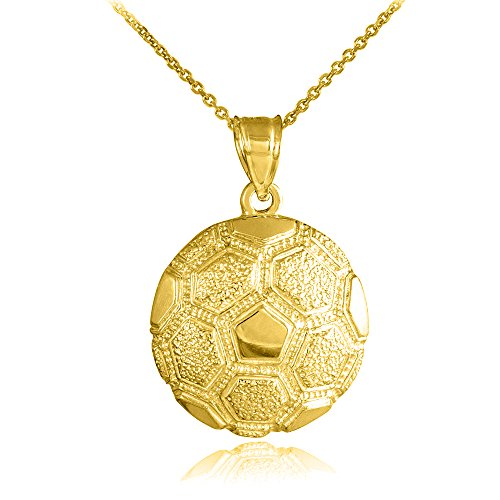 Sports Charms 14k Yellow Gold Textured Soccer Ball Pendant Necklace, 18