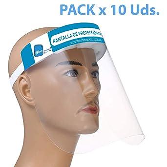 NK - Pantalla Protección Facial Transparente (Pack x10 uds), Pantalla Protectora Cara, Protector Facial, Visera Protectora con cinta ajustable: Amazon.es: Industria, empresas y ciencia