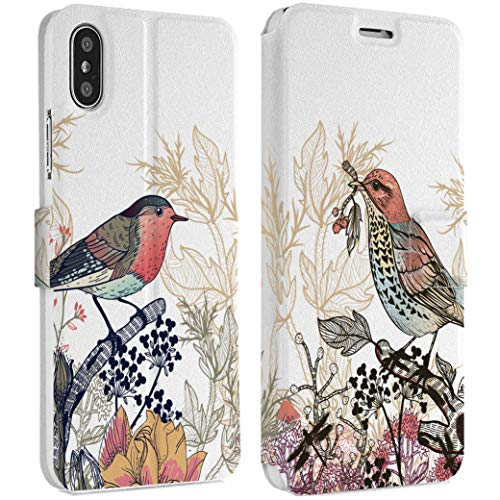 Wonder Wild Spring Birds iPhone Wallet Case 10 X/Xs Xs Max Xr 7/8 Plus 6/6s Plus Card Holder Accessories Smart Flip Hard Design Protection Cover Cute Beautiful Colorful Nature Floral Natural Flyers -