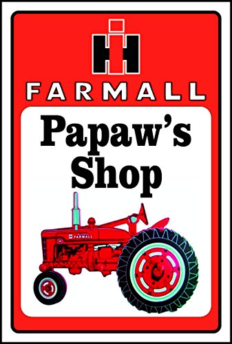 Farmall Tractor Signs - Anchor Graphix Farmall Tractor Sign PAPAW'S Shop (10 inch x 14 inch) (8x12) (10x14)