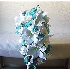 Aqua Ivory White Rose Tiger Lily Cascading Bridal Wedding Bouquet & Boutonniere 118