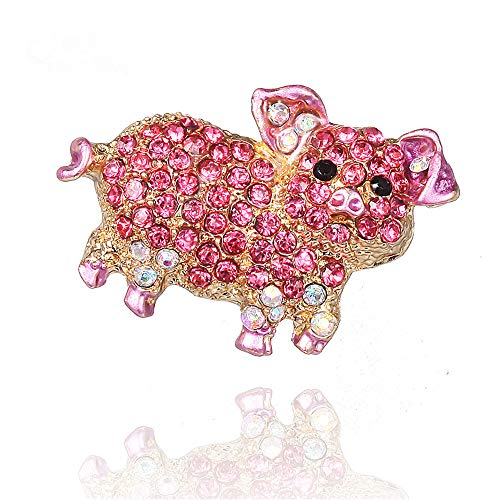 Fashion Jewelry Lovely Metal Animal Pink Pig Rhinestone Brooches for Women Girl pin Brooch (Pig Brooch)
