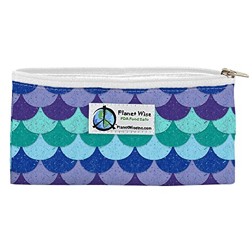 Planet Wise Reusable Zipper Sandwich and Snack Bags, Snack, Mermaid Tail (Planetwise Wet Bag)