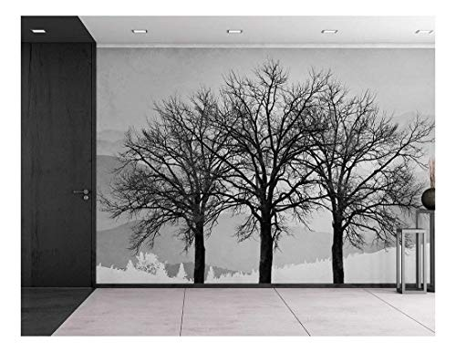 wall26 - Black and White Winter Trees on a Graphic Background - Contrast Photo Montage Wall Decor - Wall Mural, Removable Sticker, Home Decor - 66x96 inches