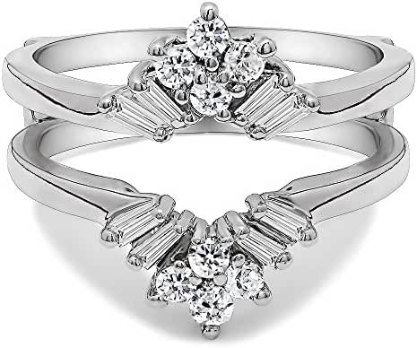 Sterling Silver V Shaped Round and Tapered Baguette Ring Guard with Cubic Zirconia (0.44 ct. tw.)