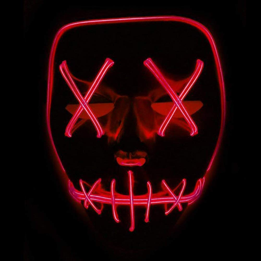 Queta Masque LED Lumi/ère EL Wire Cosplay Masque Masque De Purge pour Festival Cosplay Costume dhalloween Rouge
