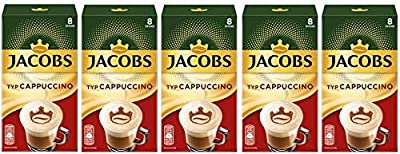 Jacobs Cappuccino Instant Coffee Portions, 8 Single Servings (Pack of 5) by Jacobs Douwe Egberts