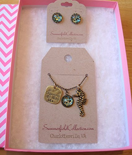 antiqued-gold-tone-glitter-glass-seahorse-and-dreaming-of-the-sea-charm-necklace-and-stud-earrings