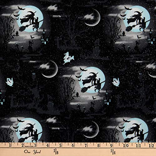 Fabric Traditions Halloween Witches Cotton with Glitter, Black