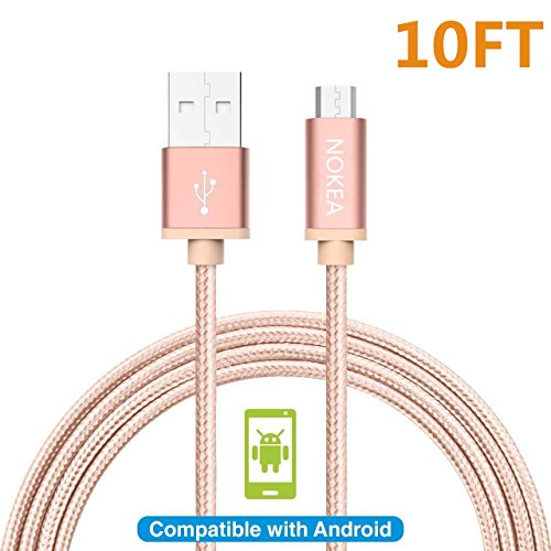 NOKEA 1 Pack 10FT [Rose Pink] Lightning Cable Charging Cord Nylon Braided Micro USB Cable Charging Cord Wire Universal for Samsung, Nexus, LG, HTC, Motorola, Nokia, Android (1PACK (About A Boy Characters)