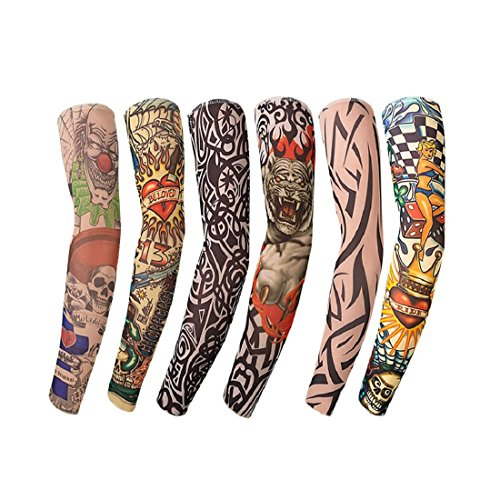 6 Pcs Temporary Tattoo Sleeves Arm Sunscreen Sleeves Accessories Fake Temporary Tattoo Sleeves, Tiger, Crown Heart, Skull, (6 pcs Type-1)]()