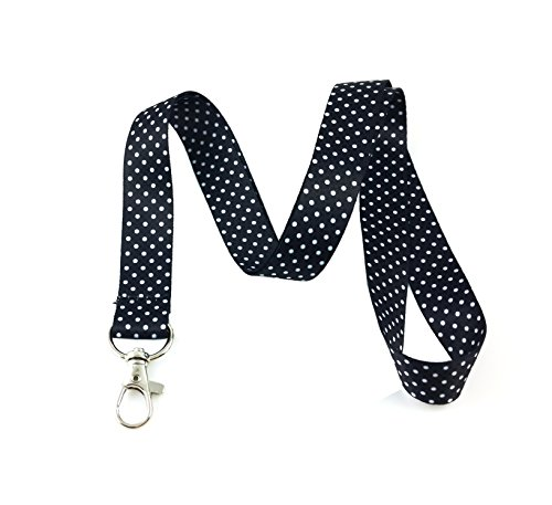 - Polka Dot Print Lanyard Key Chain Id Badge Holder (Black)