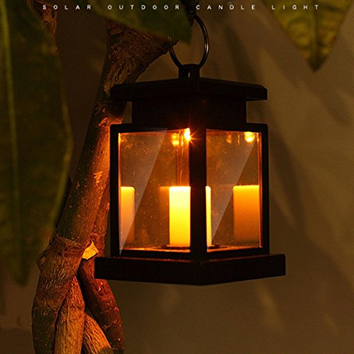 Yezijin Path Lights, Classic Solar LED Candle Light Outdoor Hanging Smokeless Lantern Lamp Warm White
