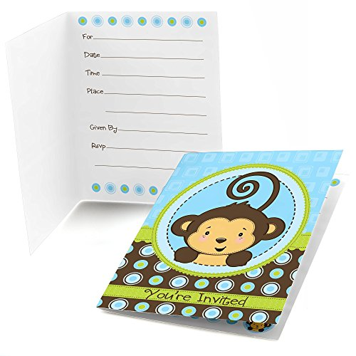 Monkey Baby Shower Invitation - Monkey Boy - Fill in Baby Shower or Birthday Party Invitations - Set of 24