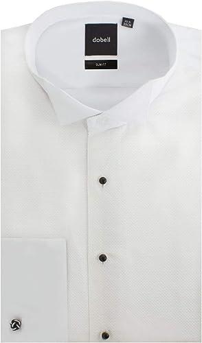 Camisa de Vestir Blanca de piqué Entallada con Cuello de Punta de ala de Dobell-42: Amazon.es: Ropa y accesorios