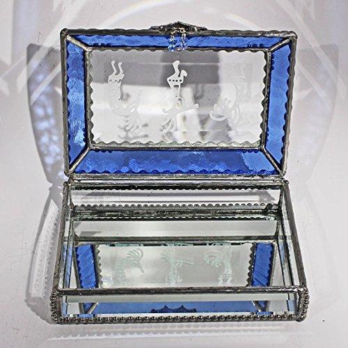 Kokopelli, Native American Stained Glass Jewelry Box, Presentation Box, Keepsake Box, Glass Jewels, Swarovski Crystals, USA Made
