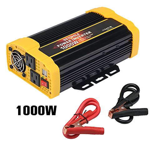 VETOMILE 1000W Power Inverter DC 12V to 110V AC Car Inverter with 2.1A Dual USB Car Adapter by VETOMILE