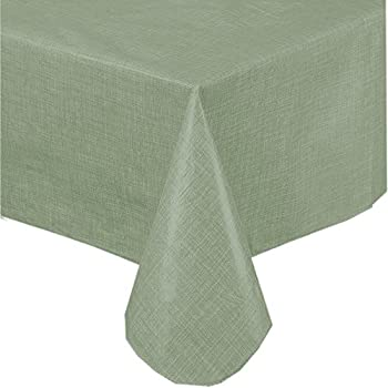 Premium Solid Color Vinyl Flannel Backed Tablecloth 70 Inch Round U2013 Sage  Green