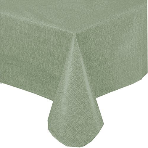 Premium Solid Color Vinyl Flannel Backed Tablecloth 52 x 52 Inch Square – Sage Green