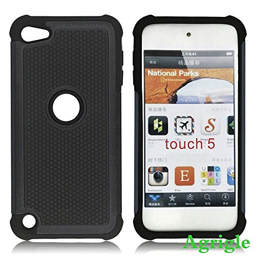 Touch 5 case,iPod Touch 5 Generation Case, Agrigle Shock- Absorption / High Impact Resistant Hybrid Dual Layer Armor Defender Full Body Protective Cover Case For iPod Touch 5 5th Generation (Black)