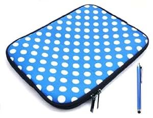 Paquete Emartbuy Paquete De Blue Capacitivo / Pantalla Táctil Resistiva Lápiz Óptico Y Los Lunares Azul / Blanco (10-11 Pulgadas Tablet / Ereader / Netbook) Resistente Al Agua Funda De Neopreno Suave Postal / Cubierta Adecuada Para Samsung Galaxy Tab De 10,1 Pulgadas (10-11 Pulgadas Tablet)