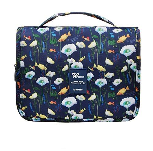 Vercord Hanging Toiletry Bag Portable Travel Organizers Cosmetics Makup Bag Case Shaving Kit, Dark Blue Goldfish
