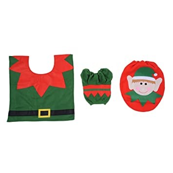 NEU Weihnachtsdekorationen Set Elf Stil Toilettensitz Cover Mit Toilette  Teppich Matte Papier Kastenabdeckung Weihnachten Badezimmer Dekor