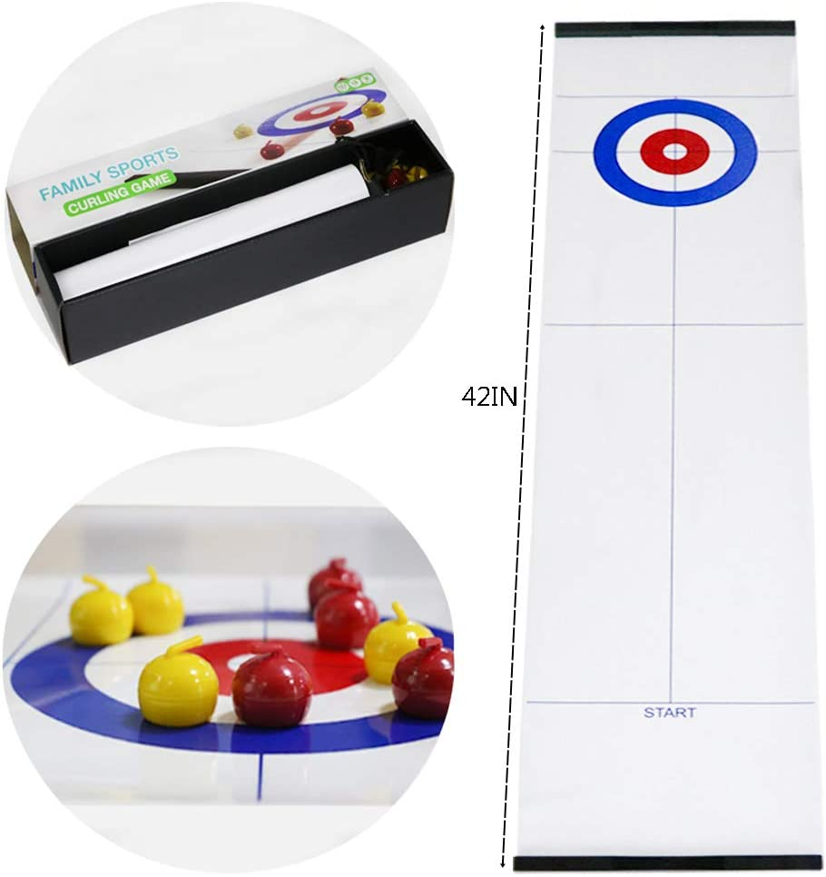 Tabletop Curling Game, Family Fun Board Games Shuffleboard Pucks with 8 Rollers Gifts for Kids and Adults, Compact Tabletop Games for Family Office or Travel Play