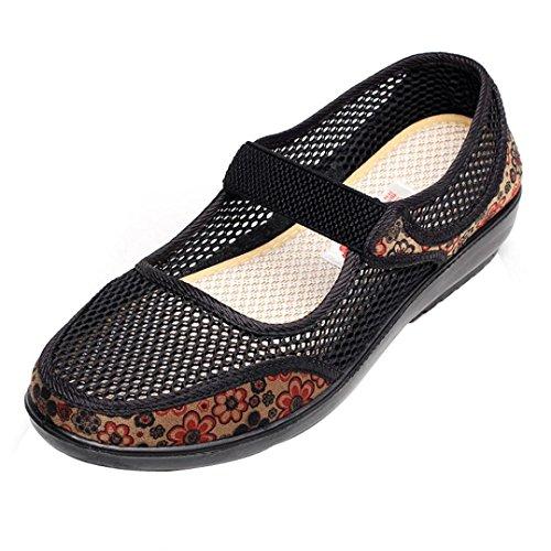 Maille Chaussures de Noir Style Plat JIANGfu Bohème Trou Été Chaussures Sandales Mode Pantoufles Casual Respirant National Plat Femme Talon ❤️❤️ Filet de BwnnqIxg6