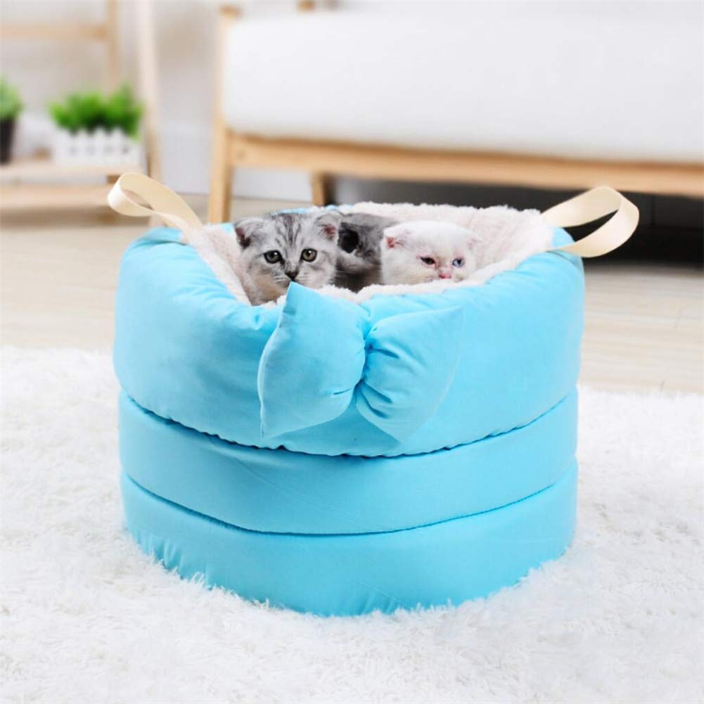 bluee MAN Deep Sleep Pet Nest Plush Bow Kennel Cat Litter Pet Sleeping Bag,bluee