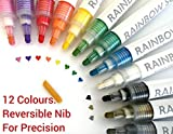 Paint Pens. Acrylic Paint Marker Pens, Mug Painting Kit, Permanent Markers for Pebbles, Glass, Ceramic, Porcelain, Wood, Canvas, Fabric, Plastic, Rock Painting. Medium and Fine Tip by Rainbow Squid