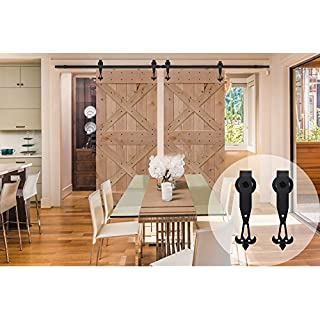 WINSOON 6FT/72 Inch Industrial Barn Door Hardware Kit Inside Sliding Iron Track for Double Doors Black New W Style
