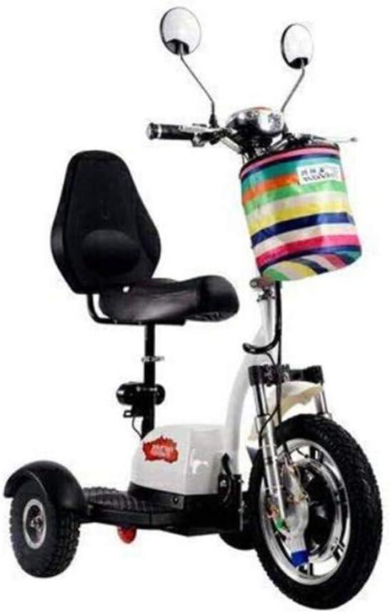 XYDDC Mini eléctrico Triciclo portátil Plegable al Aire Libre para Adultos de Edad Avanzada Ocio Vespa 48V12A batería de Litio, Carga máxima de 160Kg,Blanco