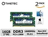 Timetec Hynix IC Apple 16GB Kit (2x8GB) DDR3 1600MHz PC3-12800 SODIMM Memory upgrade For MacBook Pro13-inch/15-inch Mid 2012, iMac 21.5-inch Late 2012/ Early/Late 2013, 27-inch Late 2012/2013, Retina 5K display Late 2014/ Mid 2015, Mac Mini Late 2012/Serv