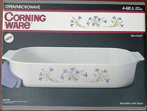 Corning Ware Blue Dusk 4-QT Open Roaster Lasagna Casserole Baking Pan, 12 1/4 x 10 1/2 x 2 1/2 Inches
