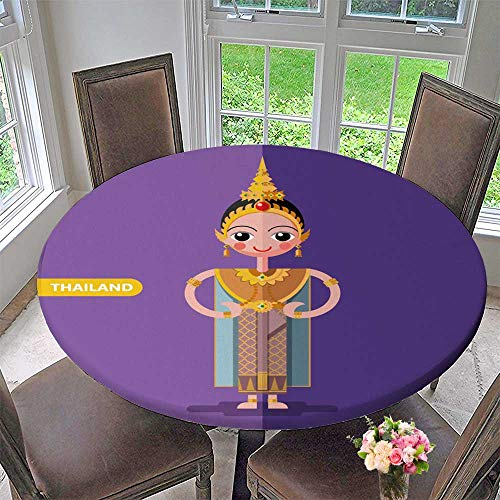 PINAFORE HOME Simple Modern Round Table Cloth Thailand National Costumes in Flat Style for Daily use, Wedding, Restaurant 59