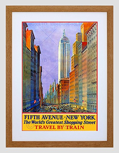 Travel New York City Fifth Avenue Shop Store Rail USA Framed Art Print ()