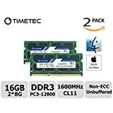 Timetec Hynix IC Apple 16GB Kit (2x8GB) DDR3 1600MHz PC3-12800 SODIMM Memory Upgrade For MacBook Pro13-inch/15-inch Mid 2012, iMac 21.5-inch Late 2012/ Early/Late 2013, 27-inch Late 2012/2013, Retina 5K Display Late 2014/ Mid 2015, Mac Mini Late 2012/Server (16GB Kit (2x8GB))
