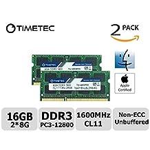 Timetec Hynix IC Apple 16GB Kit (2x8GB) DDR3 1600MHz PC3-12800 SODIMM Memory Upgrade For MacBook Pro13-inch/15-inch Mid 2012, iMac 21.5-inch Late 2012/ Early/Late 2013, 27-inch Late 2012/2013, Retina 5K Display Late 2014/ Mid 2015, Mac Mini Late 2012/Server (16GB Kit (2x8GB))