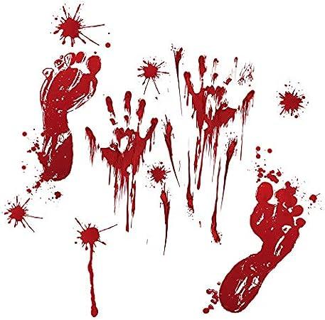 Decoraciones de Halloween Huellas de Manos de Sangre Fantasma casa embrujada escaleras arreglo Horror Ventana Puerta de Vidrio Pegatinas de Pared - impresión de Sangre + Manchas de Sangre - Grande: Amazon.es: Hogar