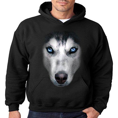 - Siberian Husky Face Hoodie Dog Owner Mens S-3XL (Black, L)