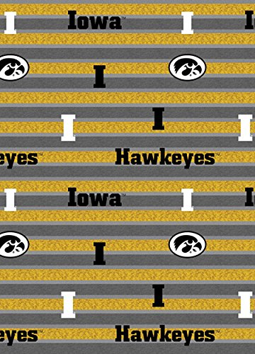 UNIVERSITY OF IOWA COTTON FABRIC-IOWA HAWKEYES POLO STRIPE-NEWEST DESIGN-SOLD BY THE YARD